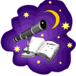 Picture of a telescope, stars, moon, and a log book to represent astronomy