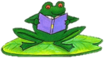 Picture of a frog reading a book while sitting on a lilypad with transparent background
