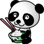 Picture of panda eating rice out of a bowl with chopsticks to symbolize recipes
